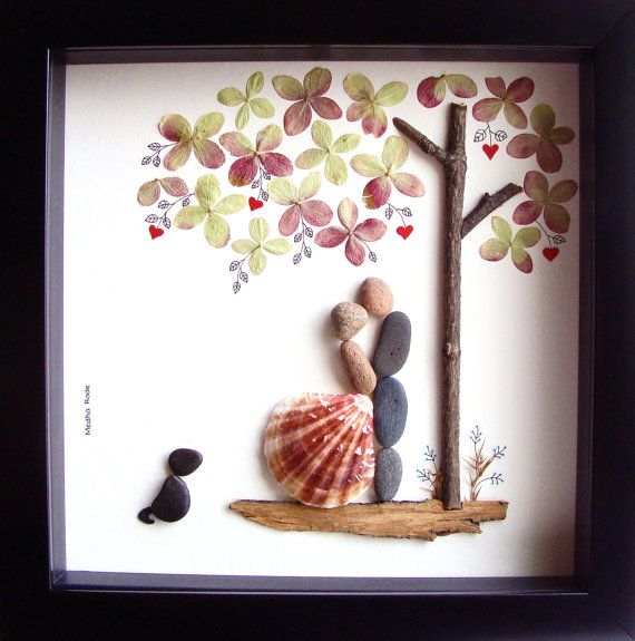 Wedding Gift Ideas For A Groom : ... Wedding present- COUPLE Gift- Bride and Groom Gift- Pebble Art by