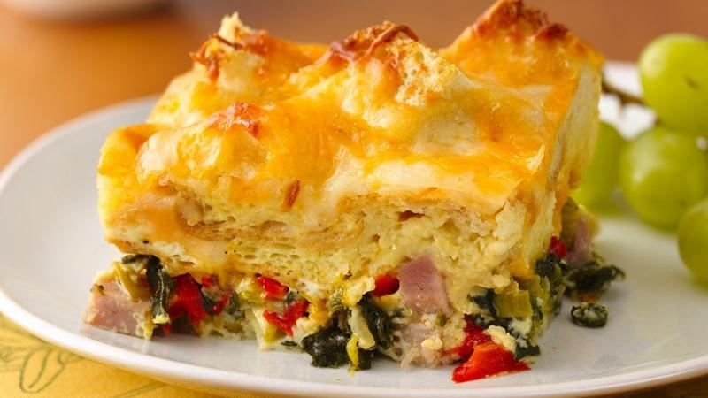 ham spinach and cheese strata strata recipesbrunch - Cheese Strata Recipes Brunch