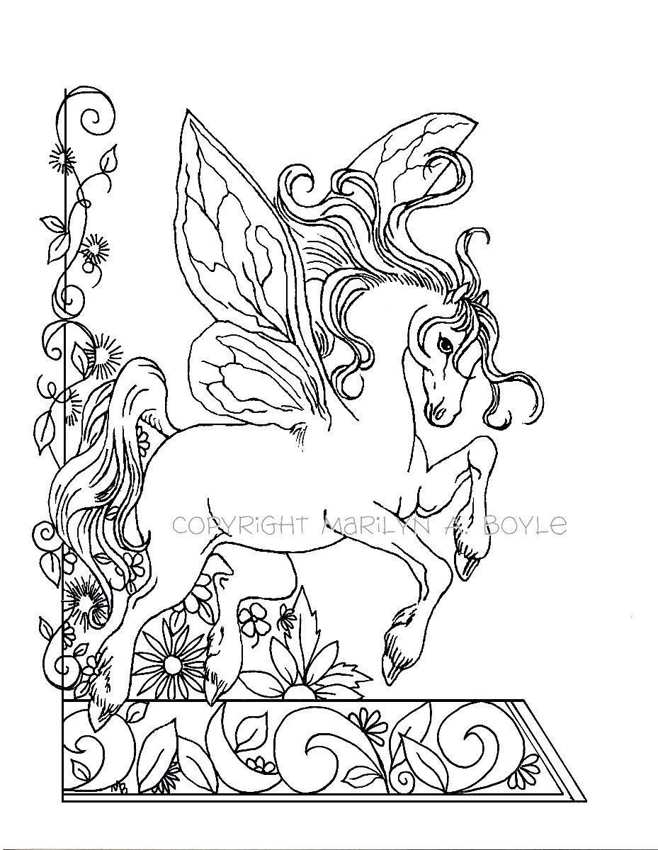 Coloring Book Of Five Pages Fantasy Unicorns Fairy Horse Etsy In 2021 Horse Coloring Pages Unicorn Coloring Pages Fairy Coloring [ 1200 x 929 Pixel ]