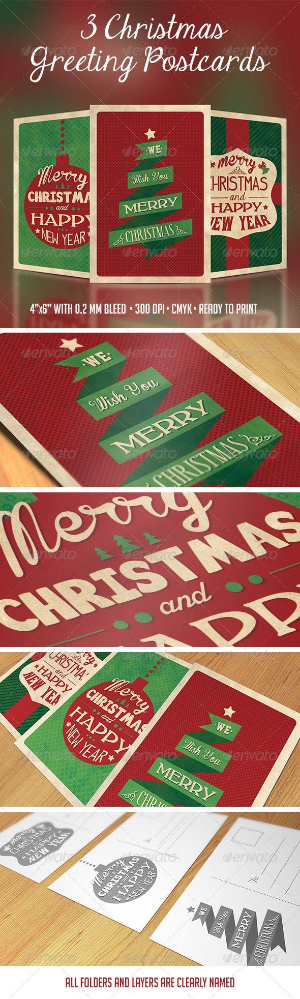 3 Christmas Greeting Postcards Christmas Design Nails Pinterest