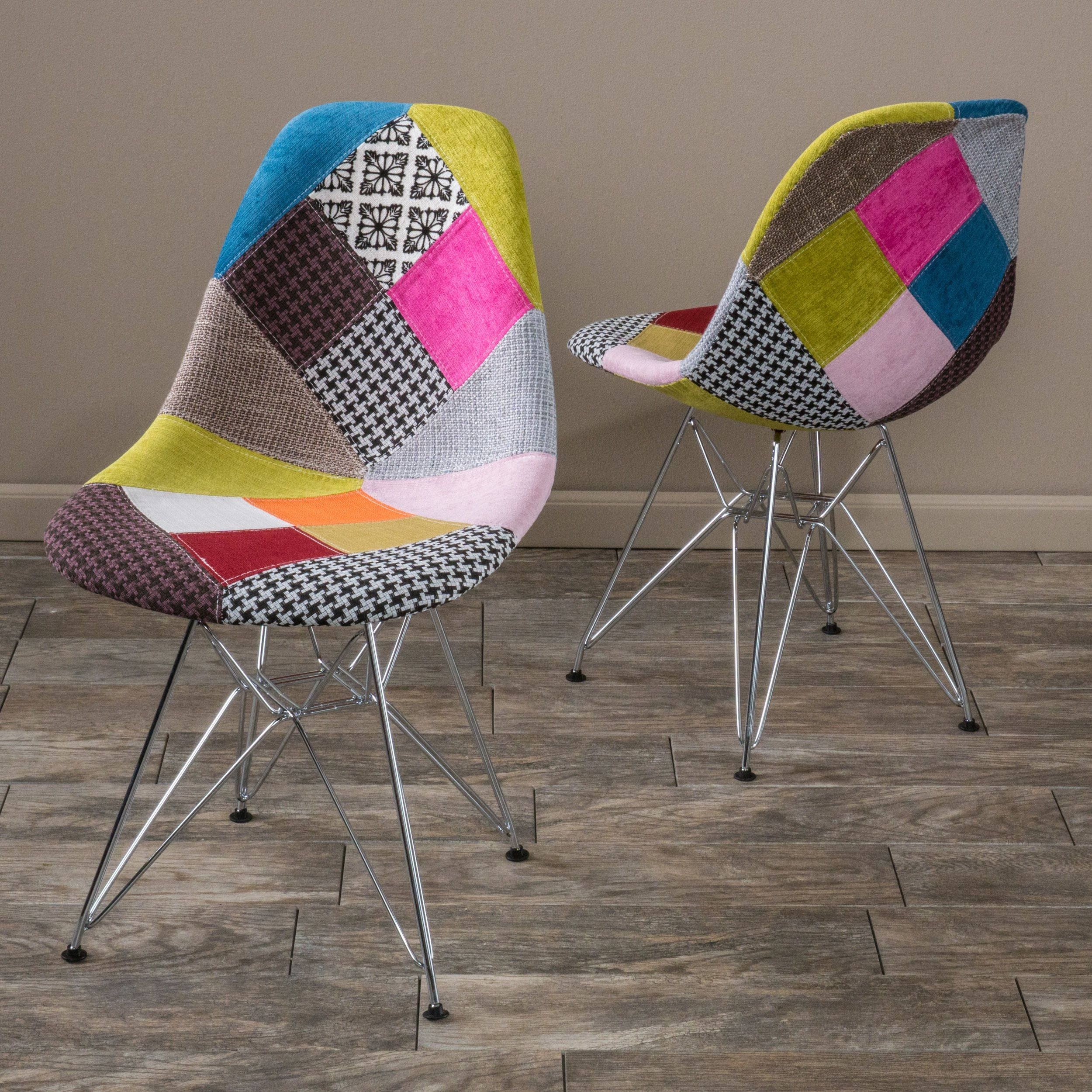 Christopher Knight Home Wilmette Patchwork Fabric Chairs   Multi Patchwork  (Set Of