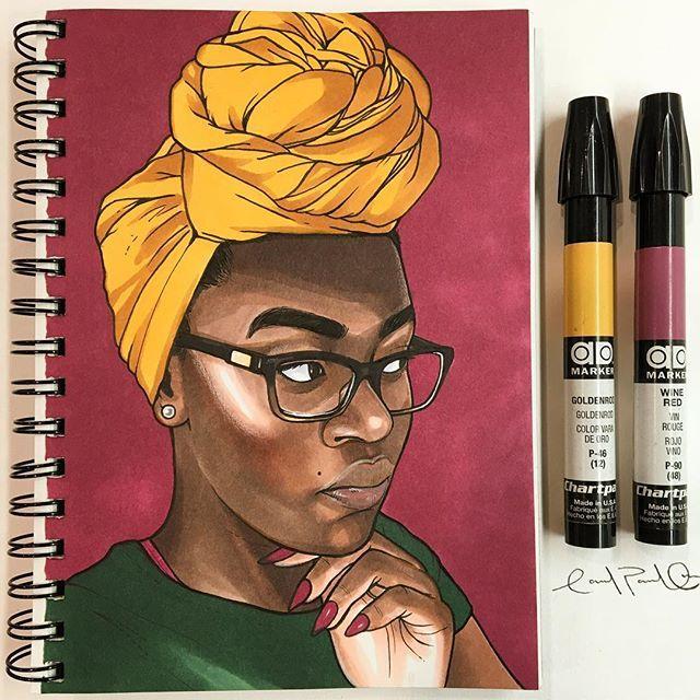 @carlos_avila_art 58/100 @yesideadeniyi Who's next? #DrawMeCarlos #art #journal #sketchbook #portrait