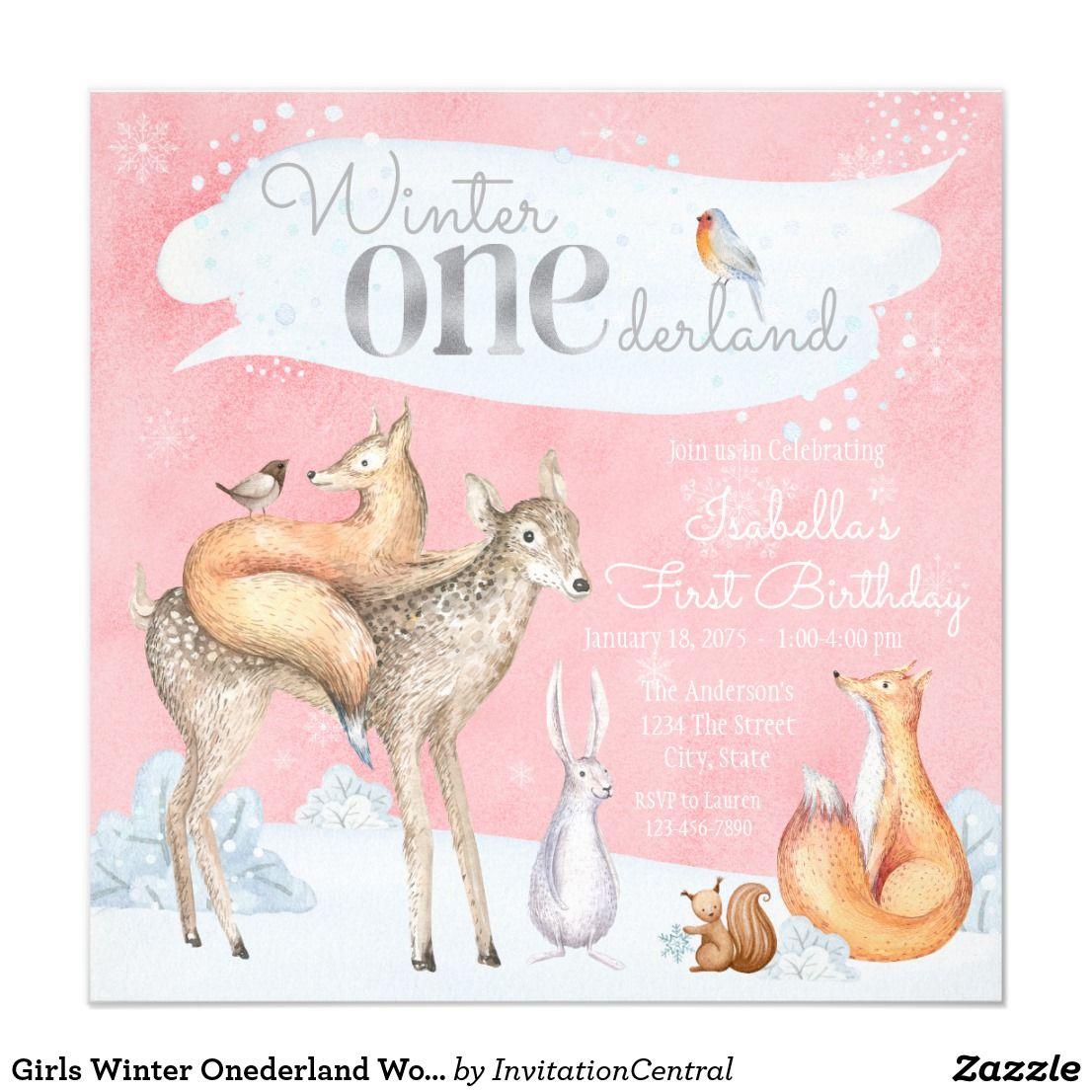 Girls Winter Onederland Woodland First Birthday Card | Winter ...