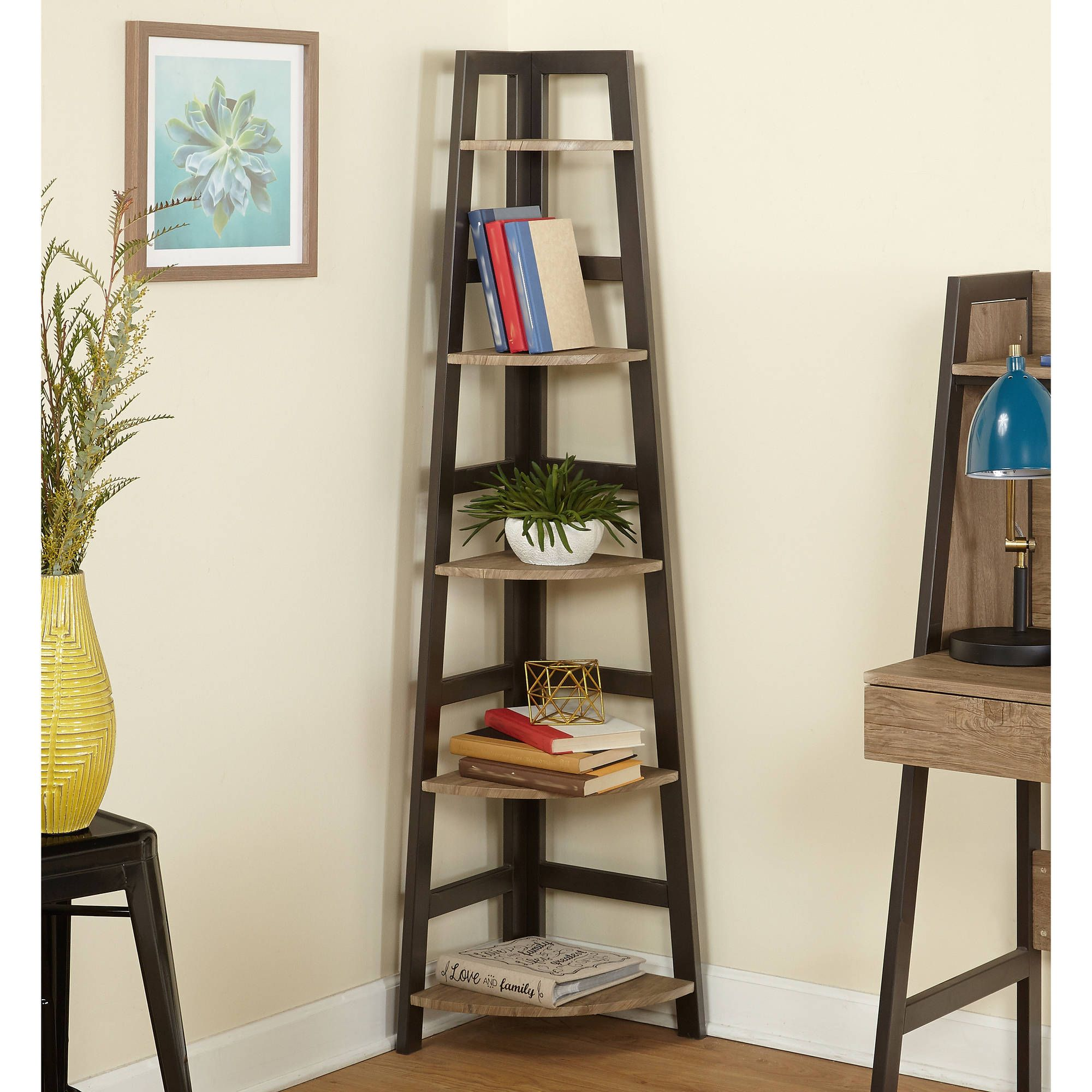 Lana Corner Shelf Natural Black Walmart Com In 2020 Corner Storage Shelves Corner Shelves Corner Bookshelves