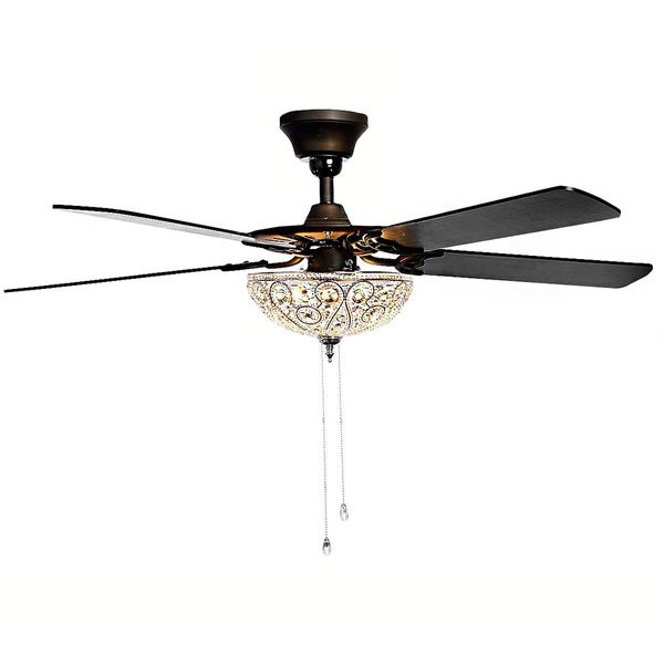 Catalina Bronze Finished 5 Blade 48 Inch Crystal Ceiling Fan