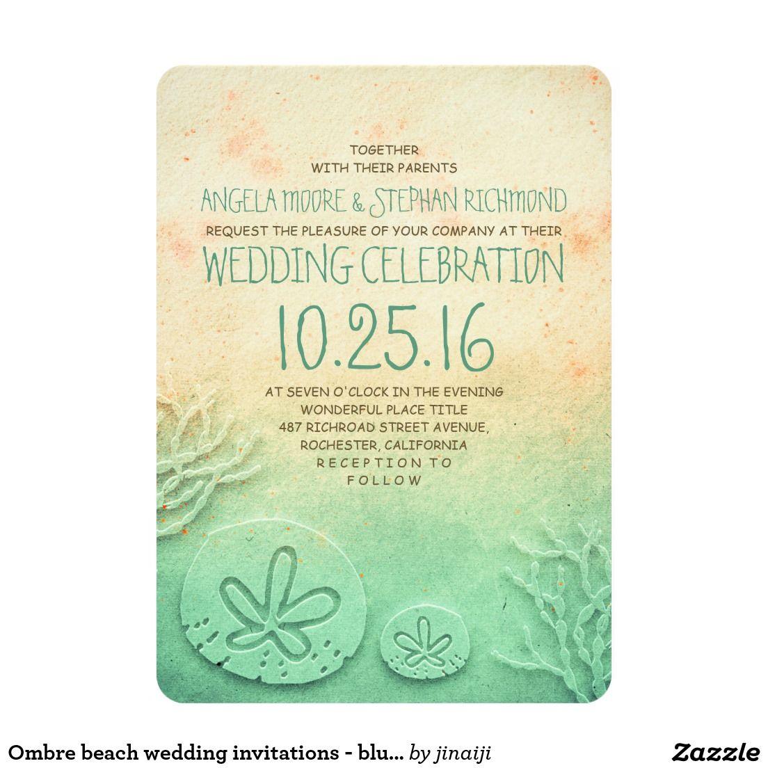 Ombre beach wedding invitations - blush teal color | Beach Wedding ...