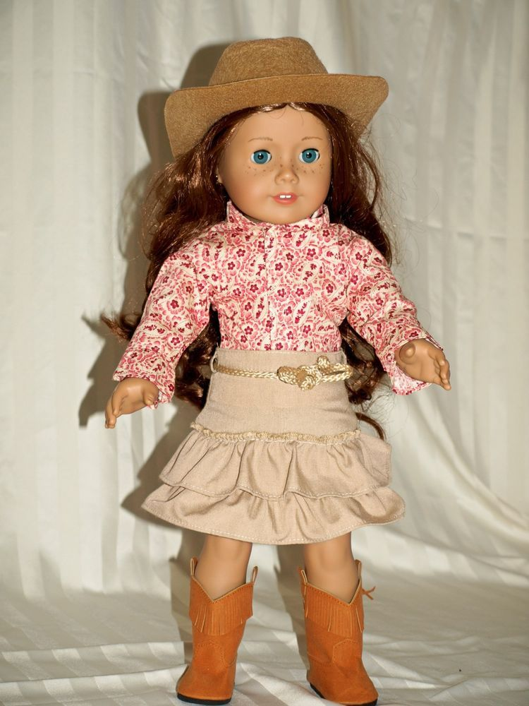 18 inch doll clothes outfit fit American girl doll shirt skirt boots cowgirl hat