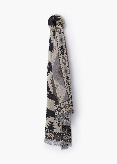 Jacquard katoenen sjaal | MANGO