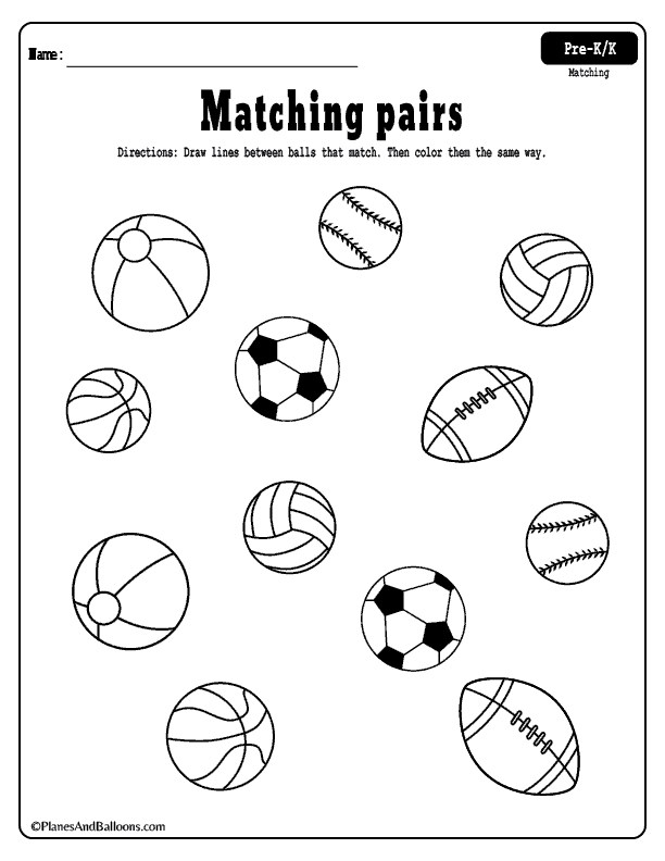 Matching worksheets for preschool and kindergarten FREE ...