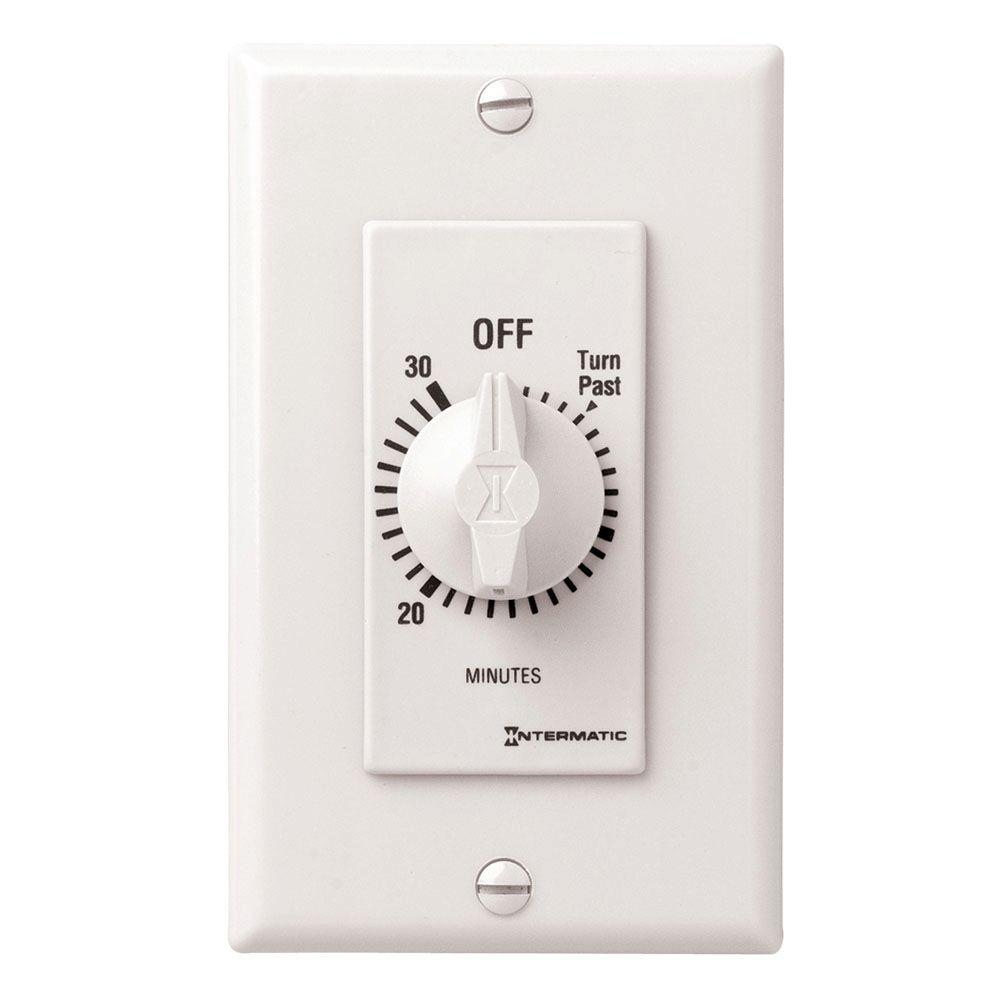 Intermatic 20 Amp 30 Minute Indoor In Wall Spring Wound Timer White Sw30mwk The Home Depot Timer Countdown Timer Plates On Wall