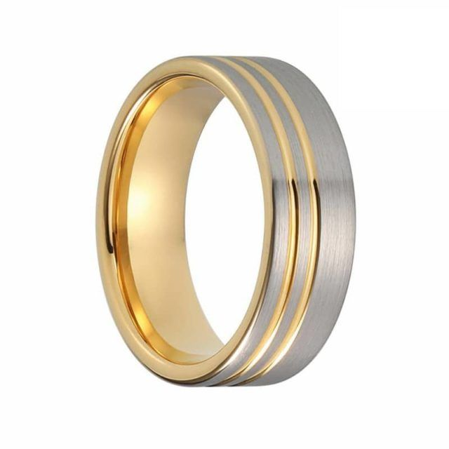 Gold Tungsten Mens Ring Two Tone Inlay Tungsten Wedding Band In 2020 Tungsten Mens Rings Rings For Men Tungsten Wedding Bands