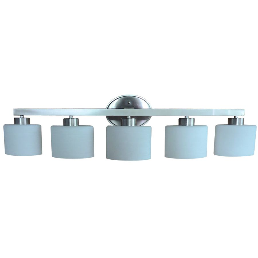 Shop allen + roth 5-Light Merington Brushed Nickel Standard Bathroom ...