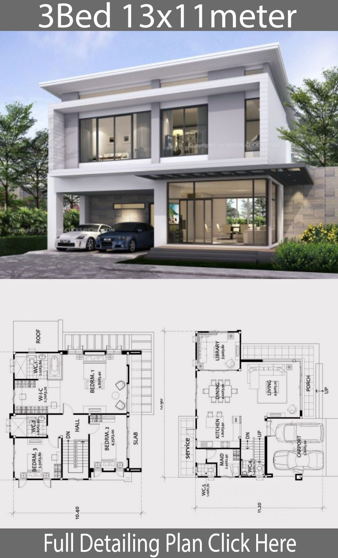 Home Design 13x11m With 3 Bedrooms In 2020 House Front Design House Designs Exterior Modern House Plans