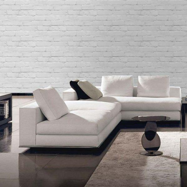 le papier peint imitation brique donne de la personalit. Black Bedroom Furniture Sets. Home Design Ideas