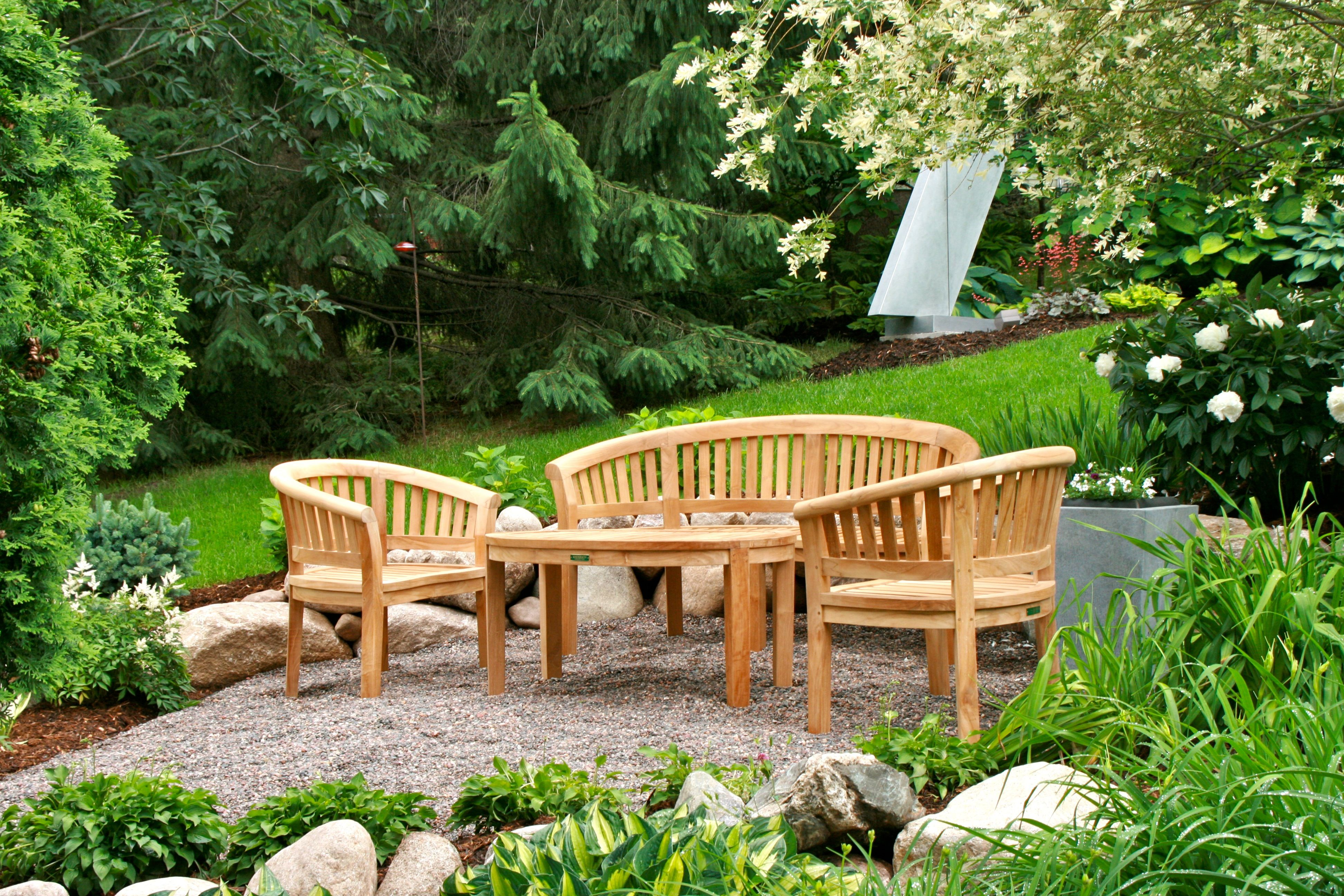 Curve 3-Seater Bench + 2 Curve Armchairs + Curve Coffee Table (SET-05) ~ Anderson Teak Outdoor Furniture
