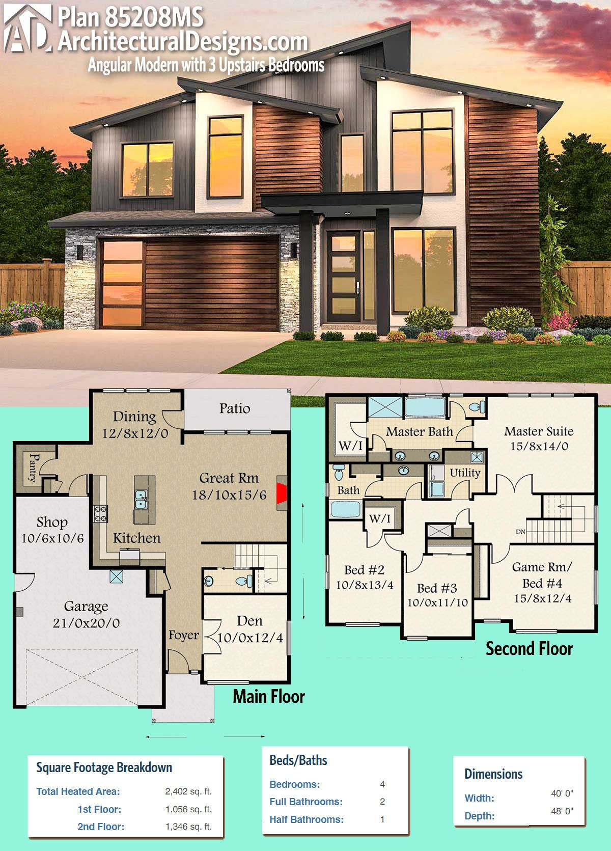 Plan 85208MS: Angular Modern with 3 Upstairs Bedrooms | Pinterest ...