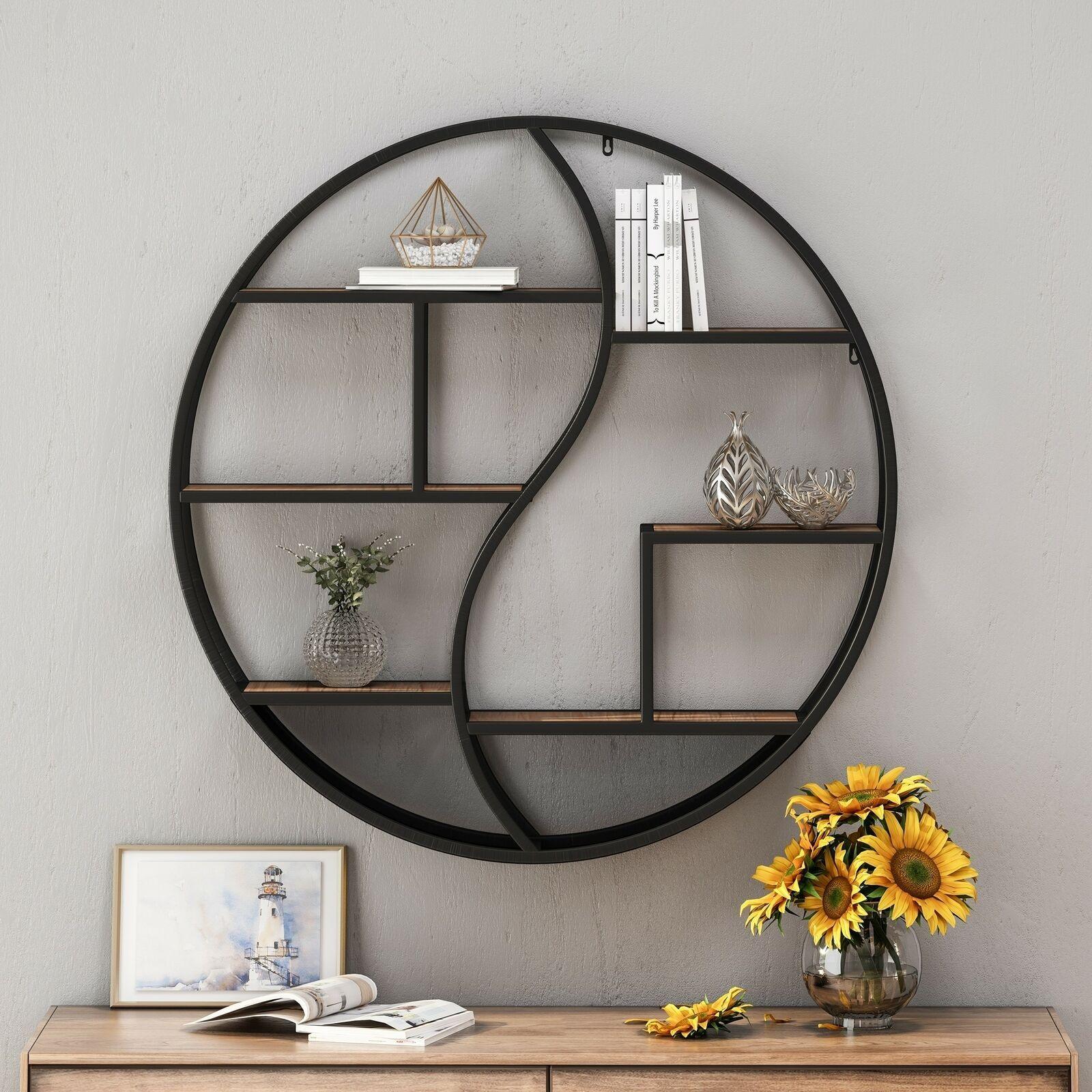 home buckthorn wood iron hanging circular wall shelf on wall shelf id=40589