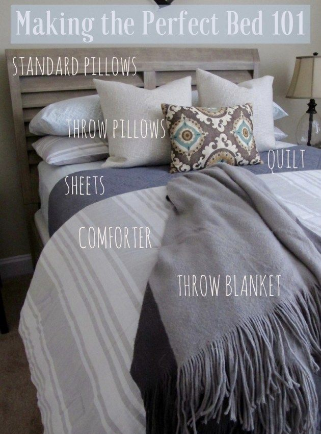 How To Make The Perfect Bed. Layer Sheets, Quilt, Coverlet, Throw Pillows