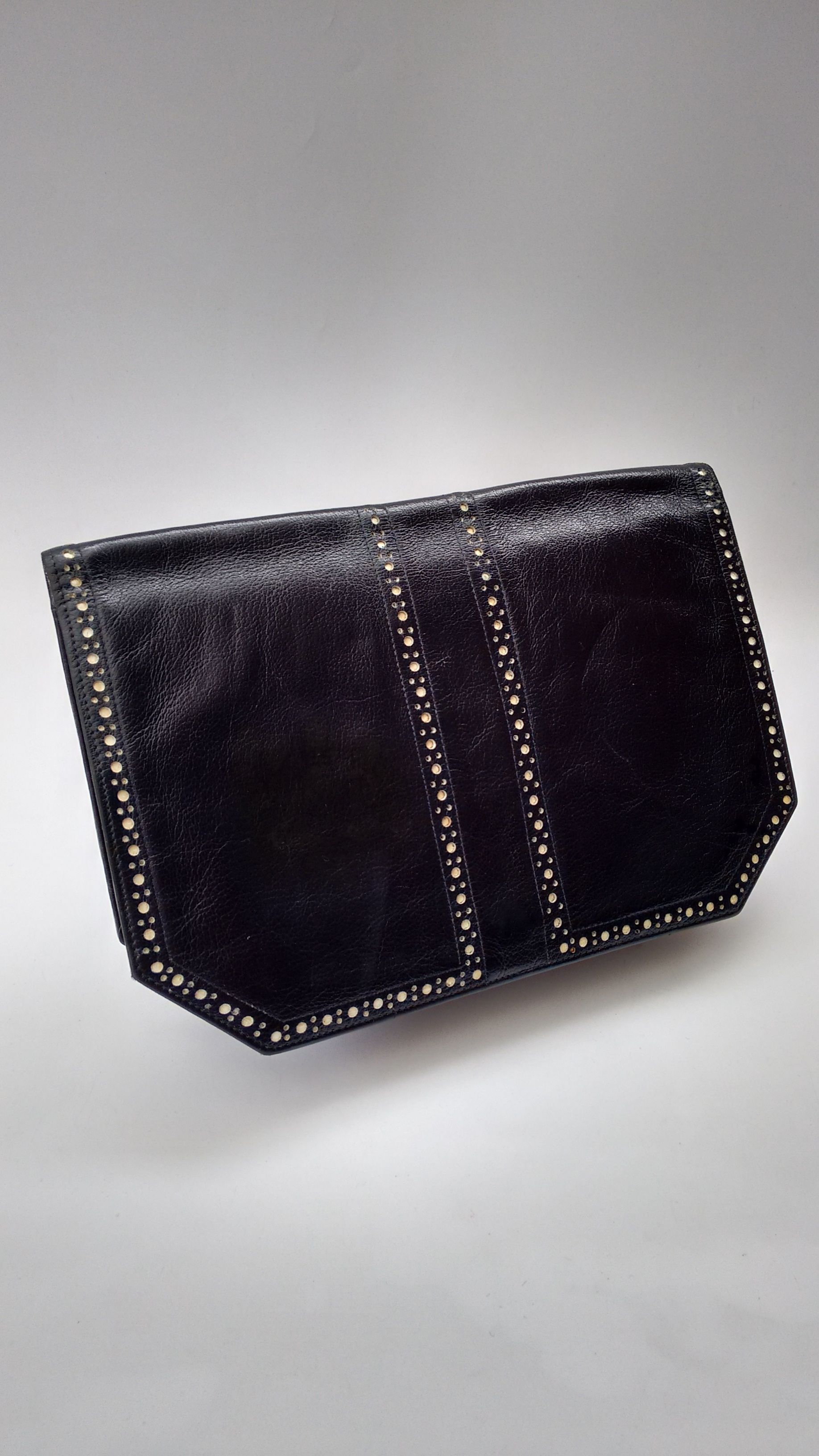 YSL Yves Saint Laurent Vintage Deep Navy almost Black and White Leather  Clutch Bag. French Designer Purse. 38d19711a2286
