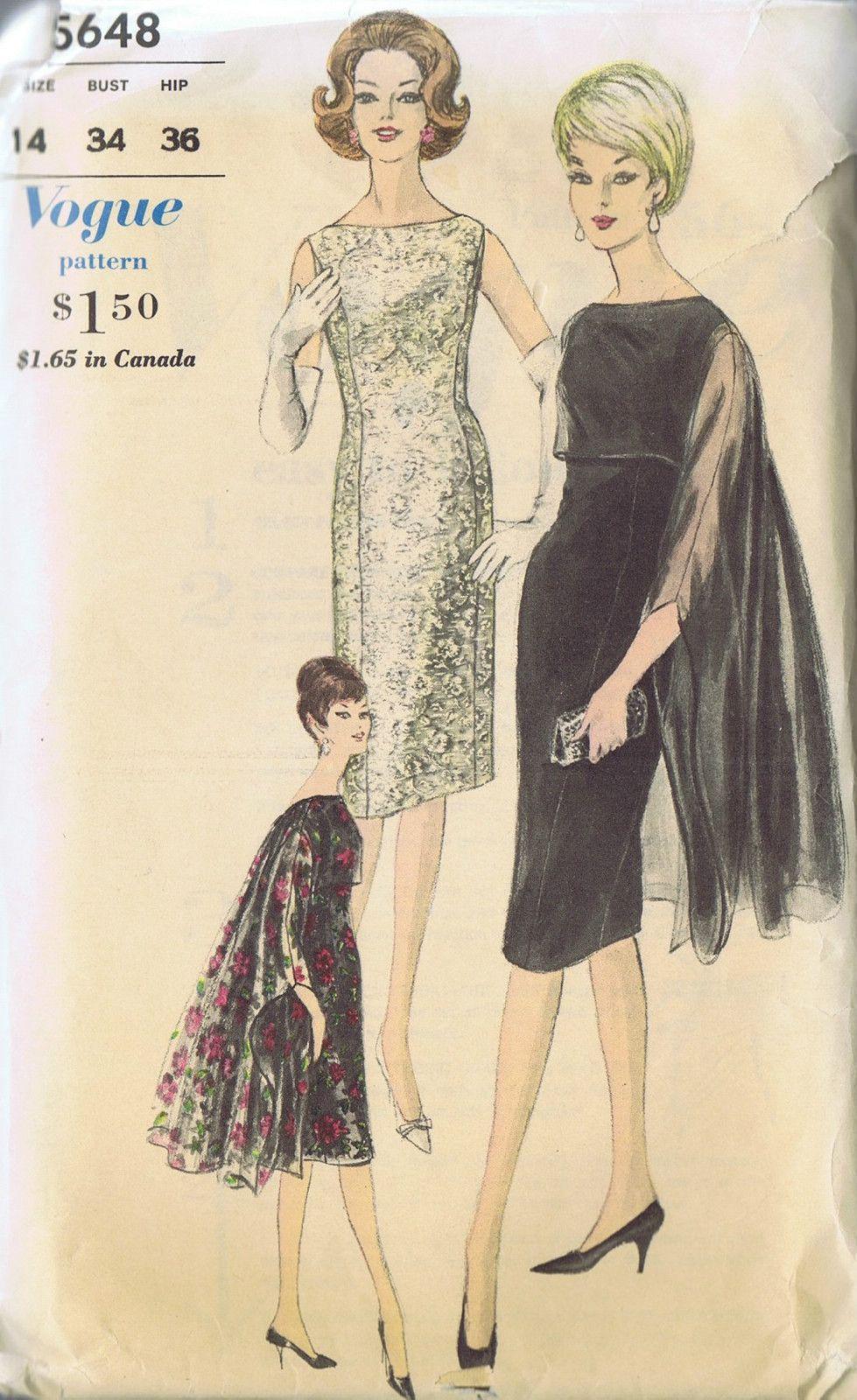 Vintage dress stole cape sewing pattern 5648 vogue size 14 bust 34 ...