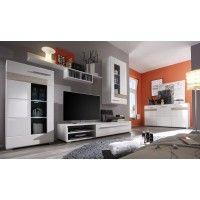 wohnwand weis hochglanz eiche sagerau, wohnwand mit sideboard weiss hochglanz/ eiche sägerau hell woody 93, Design ideen