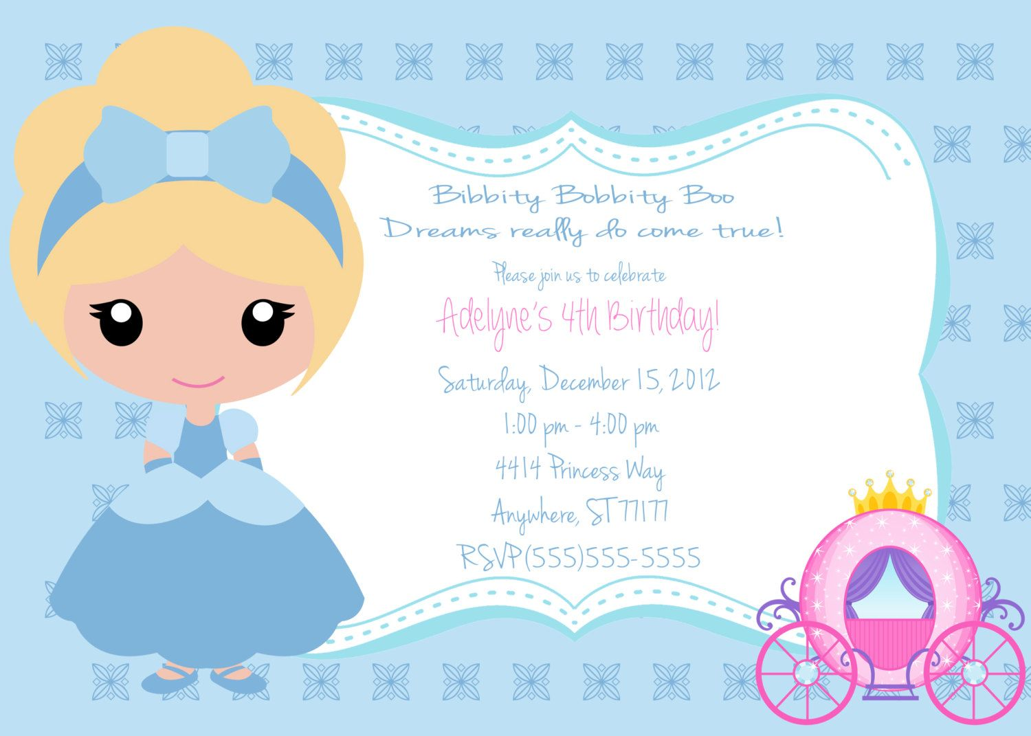Little Girls Cinderella Invitation. $8.00, via Etsy. | Birthday ...