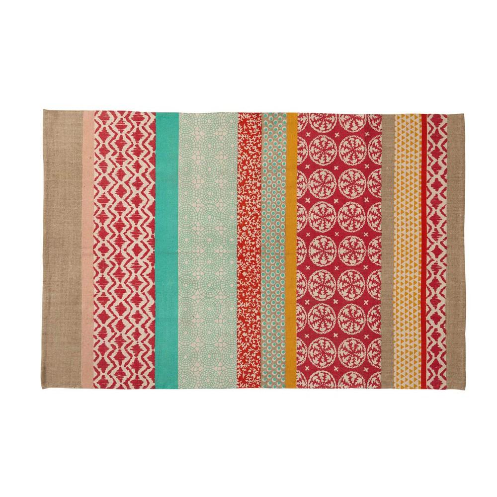 Baumwollteppich Mit Mehrfarbigen Mustern 120x180 Tapis Coton Tapis Et Tapis Enfant