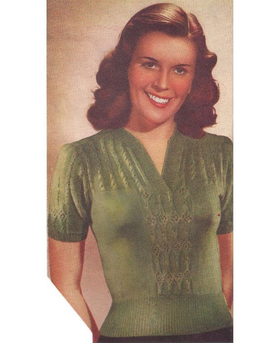 26809feba4b 1940s Knitting Pattern for Womens Jumper / Blouse in Lace Stitch ...