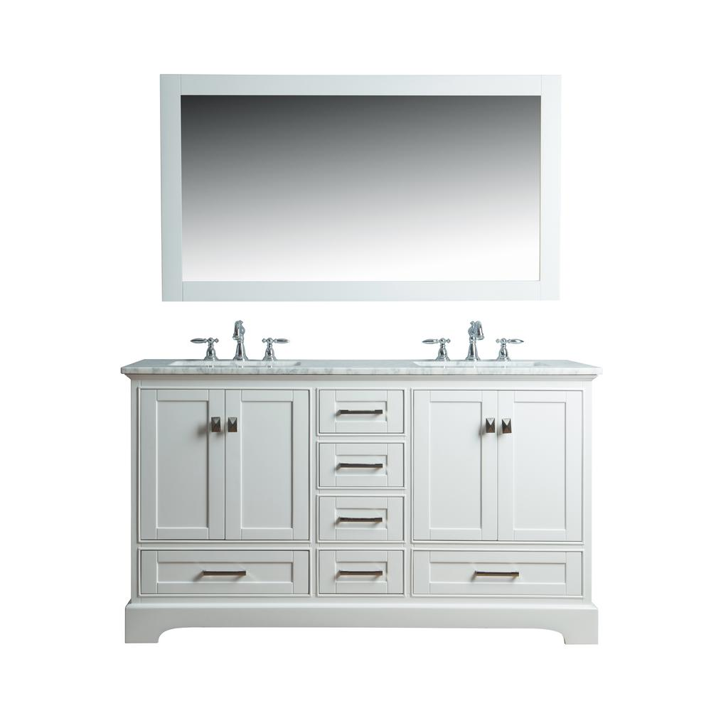 Stufurhome Newport 60 In W X 22 In D Vanity In White With Marble