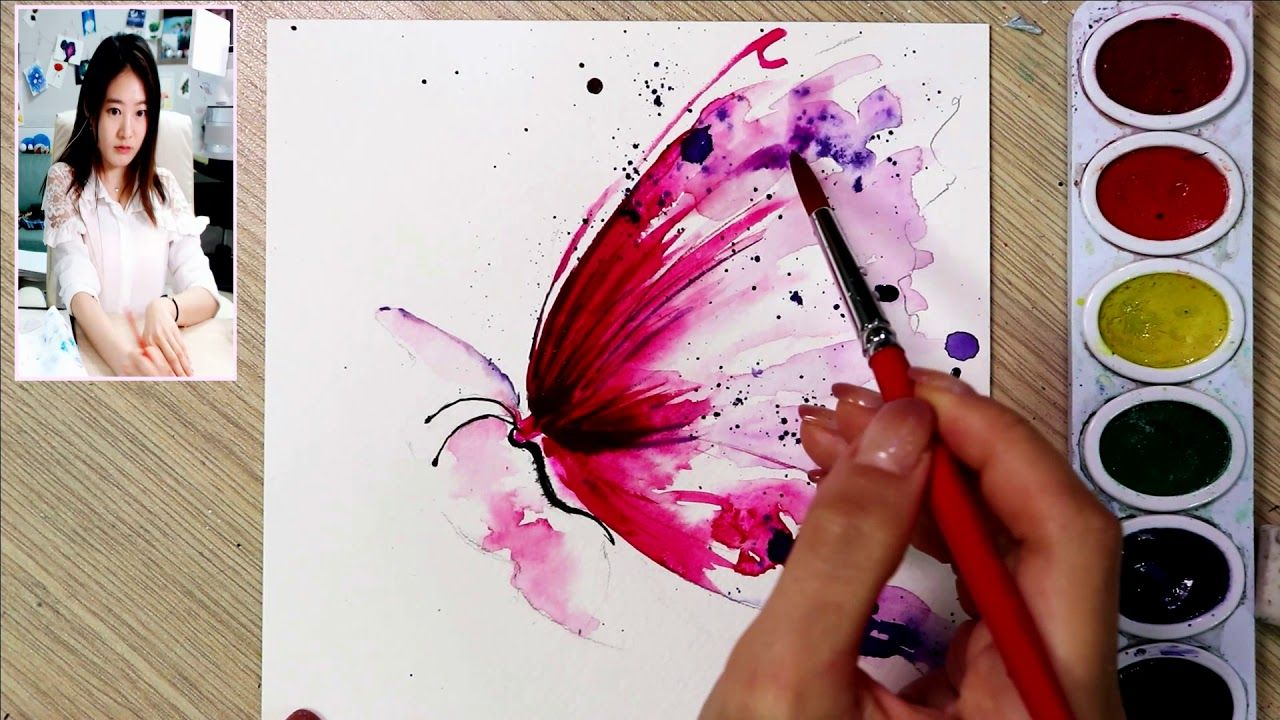 How To Draw A Fluttering Butterfly Speed Watercolor Painting
