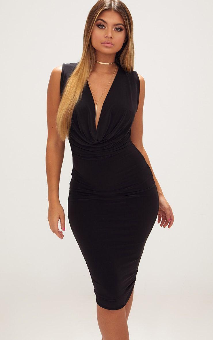 Black Slinky Cowl Neck Midi Dress Classy Dress Mid Dresses Tight Dresses [ 1180 x 740 Pixel ]