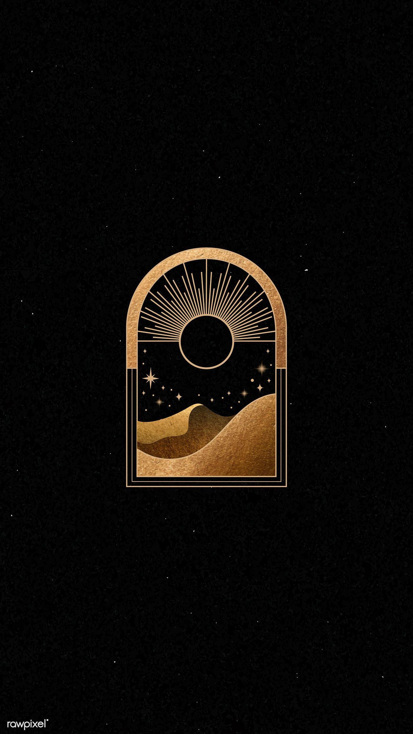Mystical gold frame on black background mobile phone