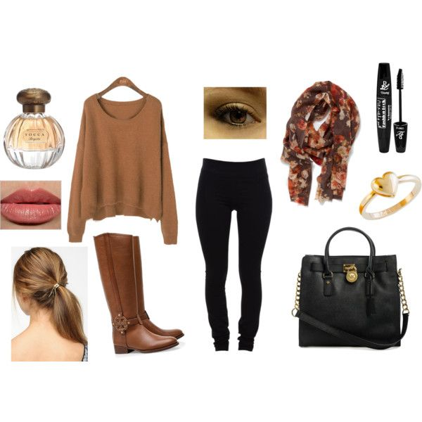 Oversized brown sweater with boots
