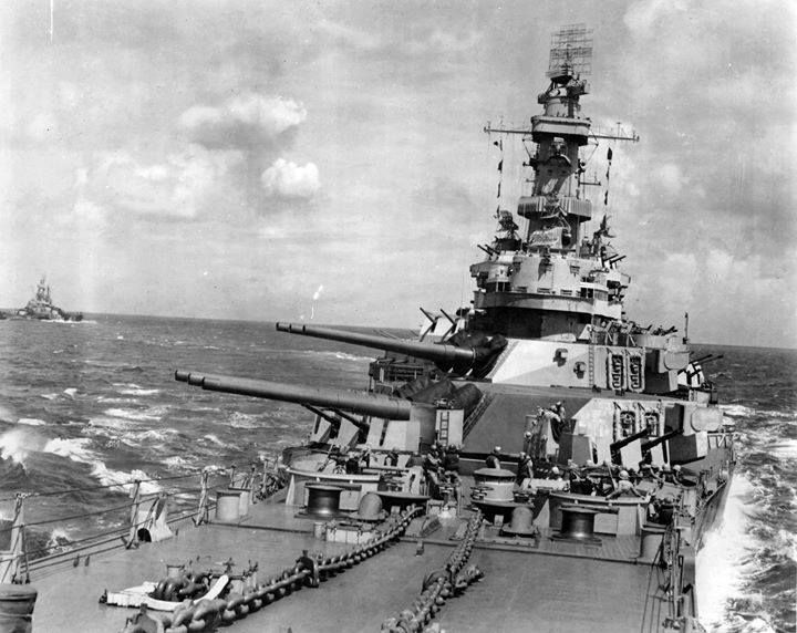 The Indiana (BB-58) & Iowa (BB-61) underway possibly during the Marshall Islands Campaign.