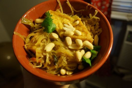 Pad Thai with spaghetti squash for a Meatless Monday twist