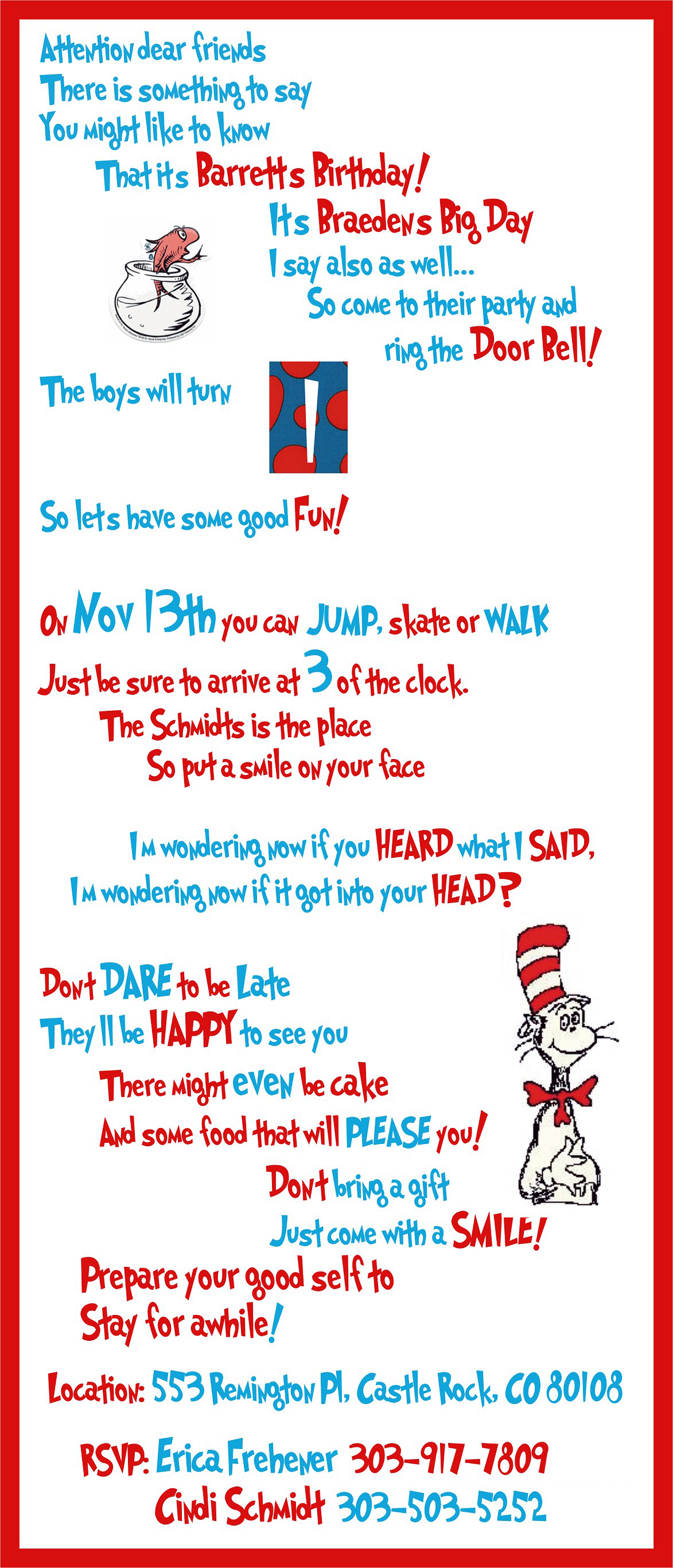 Dr. Seuss Twin Birthday Party   Party things, Twin boys and Twin ...