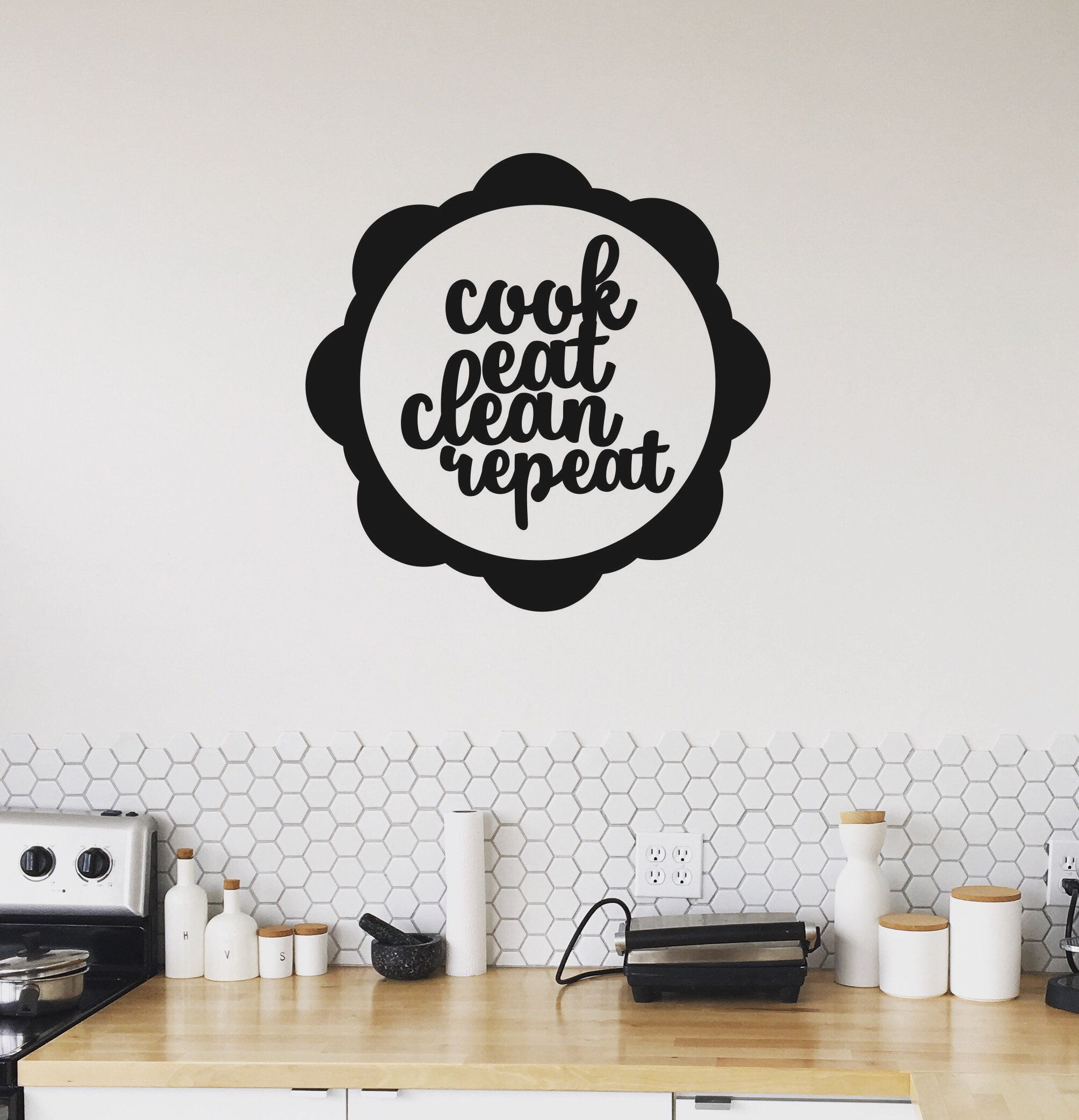Cook Eat Clean Repeat Wall Decal Removable Kitchen Vinyl