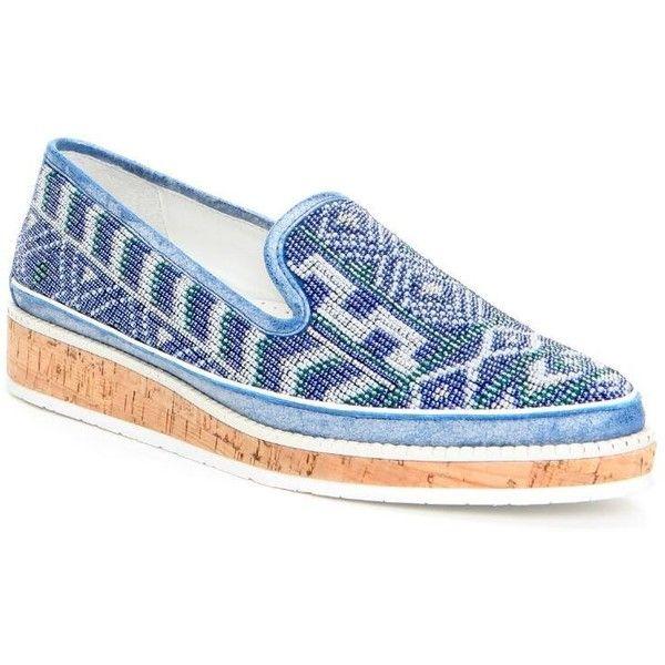 Donald J Pliner Women's Braysp- Blue (10) (£78) ❤ liked on Polyvore featuring shoes, blue, loafers, metallic, leather shoes, blue loafers, pointed shoes, beaded shoes and pointed loafers