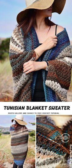 Tunisian Blanket Sweater Crochet Pattern [FREE] #tunisiancrochet
