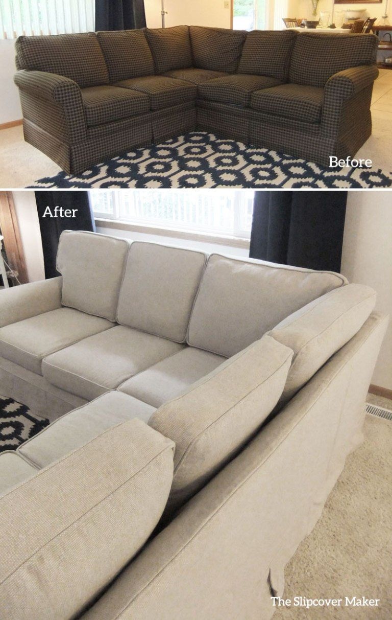 Sectional Slipcover in Rustic Linen Cotton | Home Decor ...