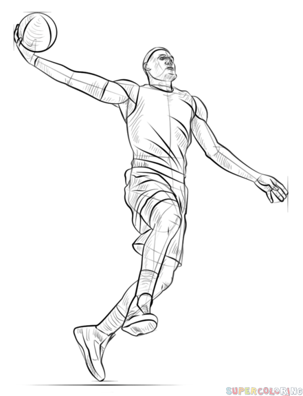 How To Draw A Basketball Player Dunking Step By Step Drawing Tutorials Sports Drawings Basketball Drawings Basketball Players