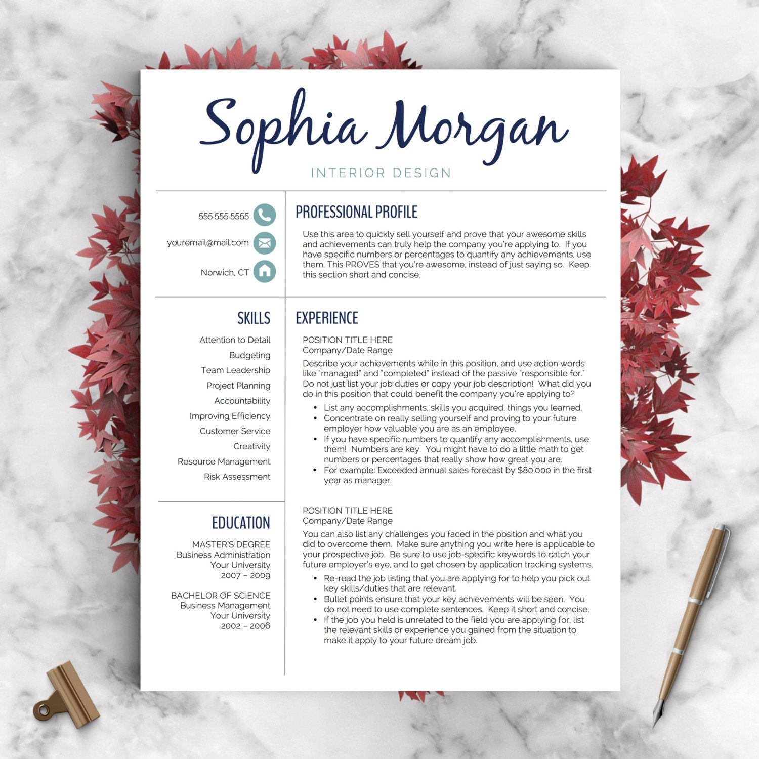 Creative Resume Template Resume For Word By Landeddesignstudio
