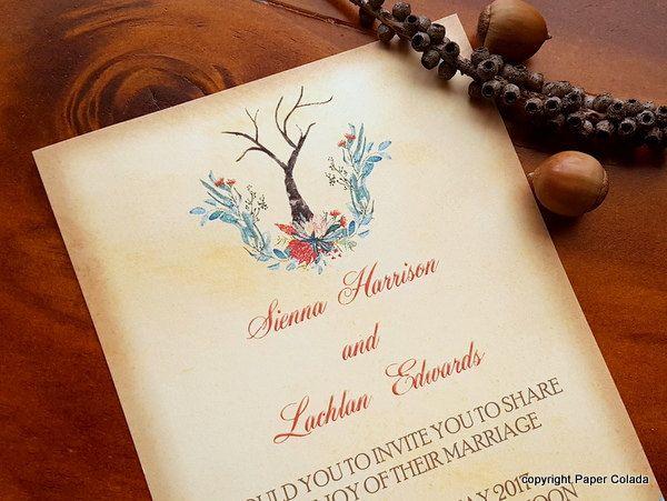 Native American Wedding Invitations: Australian Bush Wedding Invitation, Australian Outback