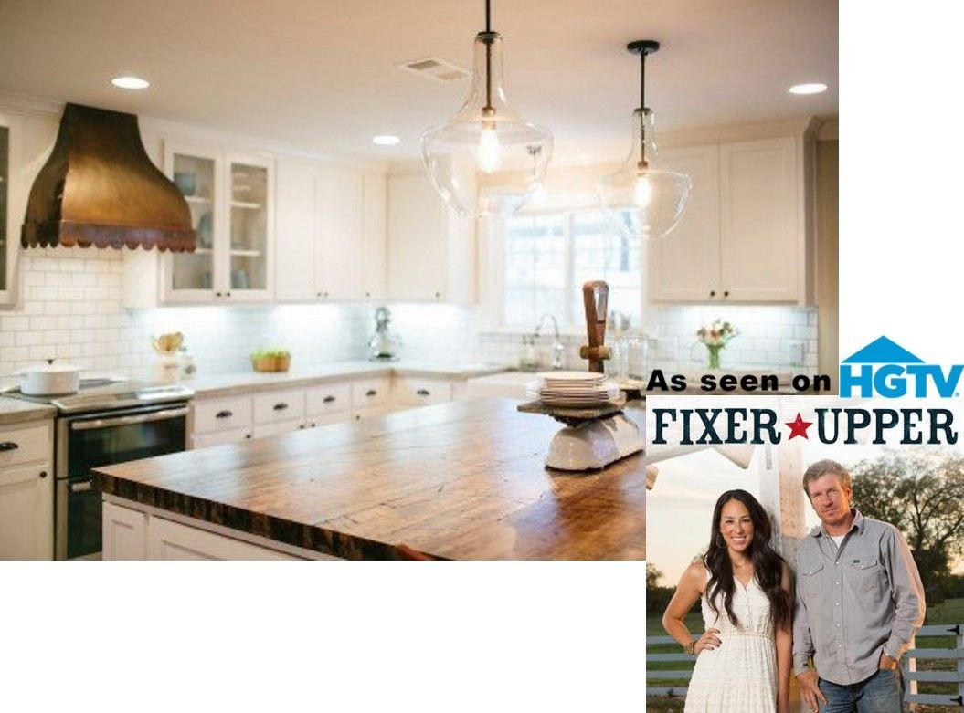 Everly Glass Kitchen Island Pendant On HGTVs Fixer Upper Lighting - Glass kitchen island pendants