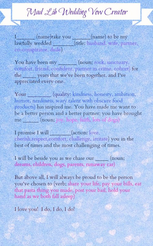 Mad Lib Wedding Vows Fun Game For The