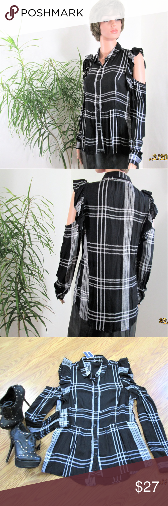 c7ad652a1 Plaid Peplum Cold Shoulder Button Down Super cute black & white plaid. Cut  out shoulders are highlighted with ruffles. Collared, button cuff long  sleeves.