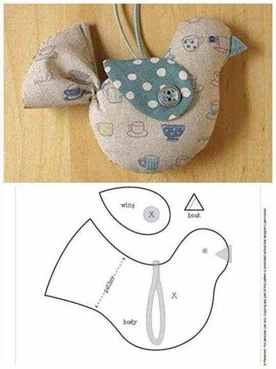 Hanging dove in fabric | Crafting with fabrics | Pinterest | Costura ...