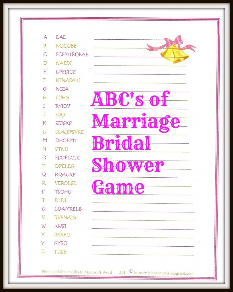 Freebie The ABC's of Marriage Bridal Shower Game Bridal