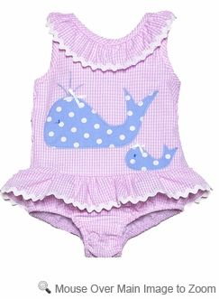 05c6c37452 Funtasia Girls Pink Ruffle Swimsuit with Blue Whales - One Piece ...