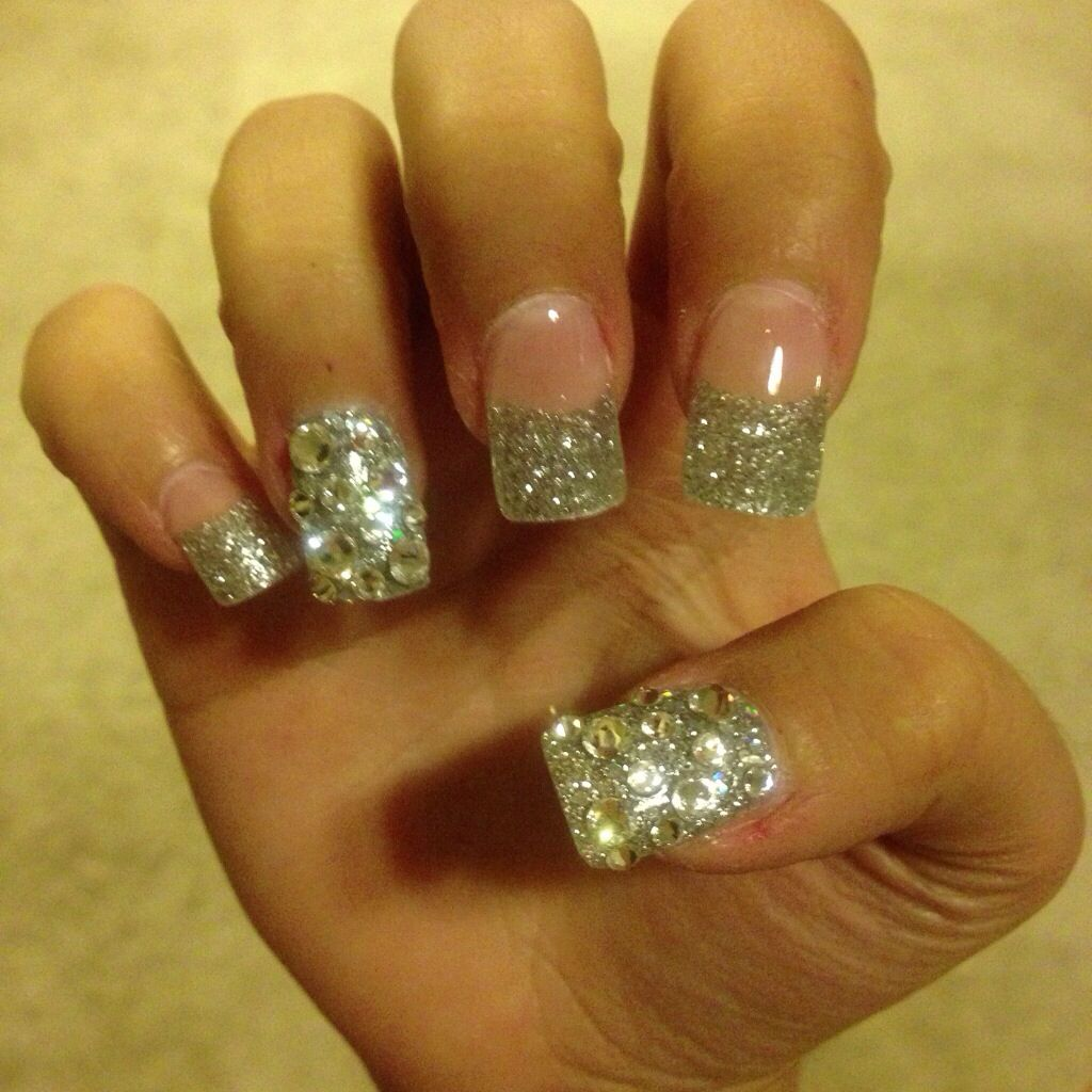 acrylic nails designs glitter nail designs nail design glitter french tip nails primpp. Black Bedroom Furniture Sets. Home Design Ideas